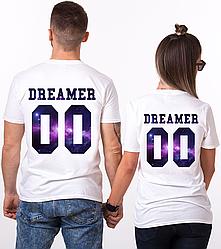 """Парные именные футболки """"Dreamer - Space"""" [Цифры можно менять] (50-100% предоплата)"""