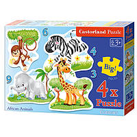"""Пазлы  Castorland 4в1  005017  """"Африканские животные"""""""