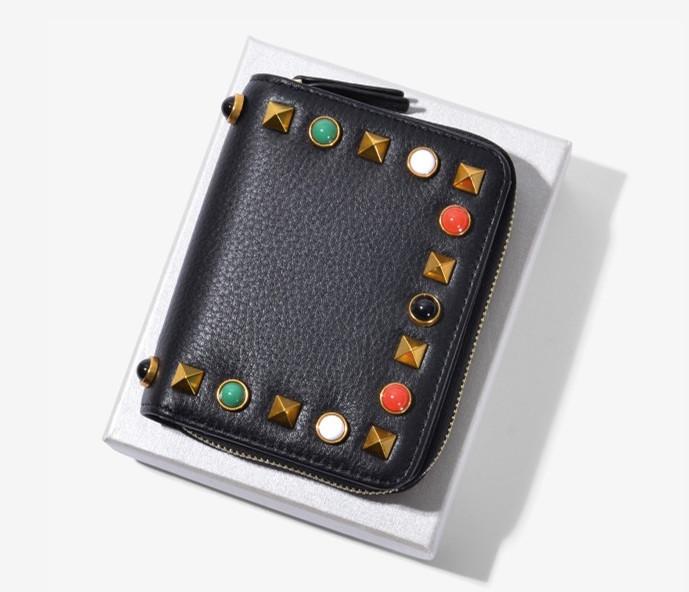 Мини кошелек с шипами и отделом для мелочи на молнии (0844) Черный