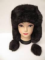 Женская зимня шапка ушанка меховая