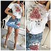 Женский юбочный костюм с футболкой и джинсовой юбкой 79mko468