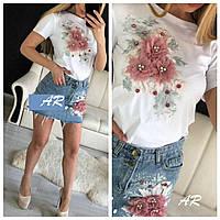 Женский юбочный костюм с футболкой и джинсовой юбкой 79mko468, фото 1