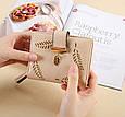 Невеликий гаманець з перфорацією, застібка кнопки + блискавка (0842) Рожевий, фото 2