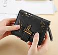 Невеликий гаманець з перфорацією, застібка кнопки + блискавка (0842) Рожевий, фото 3