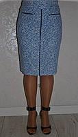 Голубая прямая класическая женская юбка-карандаш батал с белым принтом р.46-54.  Арт-1576/10