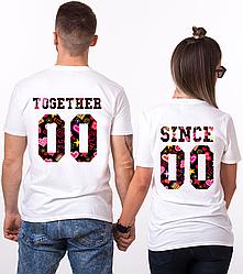 """Парные именные футболки """"Together Since - Love"""" [Цифры можно менять] (50-100% предоплата)"""