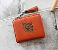 Мини кошелек с кисточкой и рисунком листочка (0840) Серый, фото 6