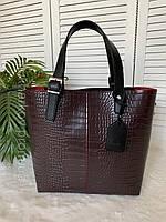 Рептилия, сумка женская ,большая, бордовая  ,стильная новинка