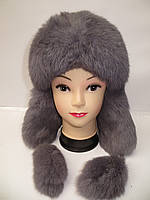 Женская меховая шапка ушанка (мех кролика)