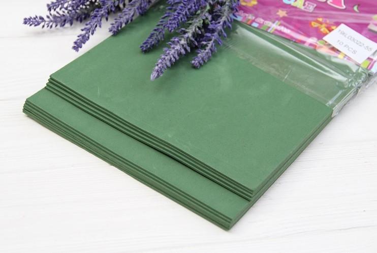 Фоамиран обычный   20*30 см  ,  темно - зеленый                     10 листов