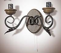 Настенный светильник, бра деревянное