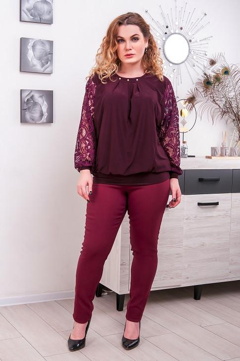 Комплект женский джеггинсы + блуза большой размер Бетта  наличие цветов (52-66)