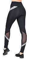 Леггинсы для фитнеса и спорта / спортивные лосины с утяжкой / высокая посадка Valeri 1232.1 черные с серым