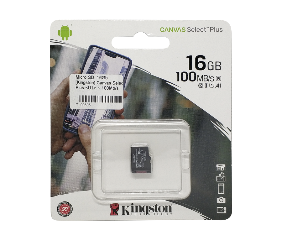 Карта памяти microSD 16Gb Kingston 100Mb/s