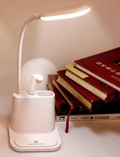 Настольная лампа-органайзер с подставкой для телефона. Лампа настольная c аккумулятором