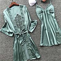 Комплект зеленый женский атласный халат и пеньюар размер 44