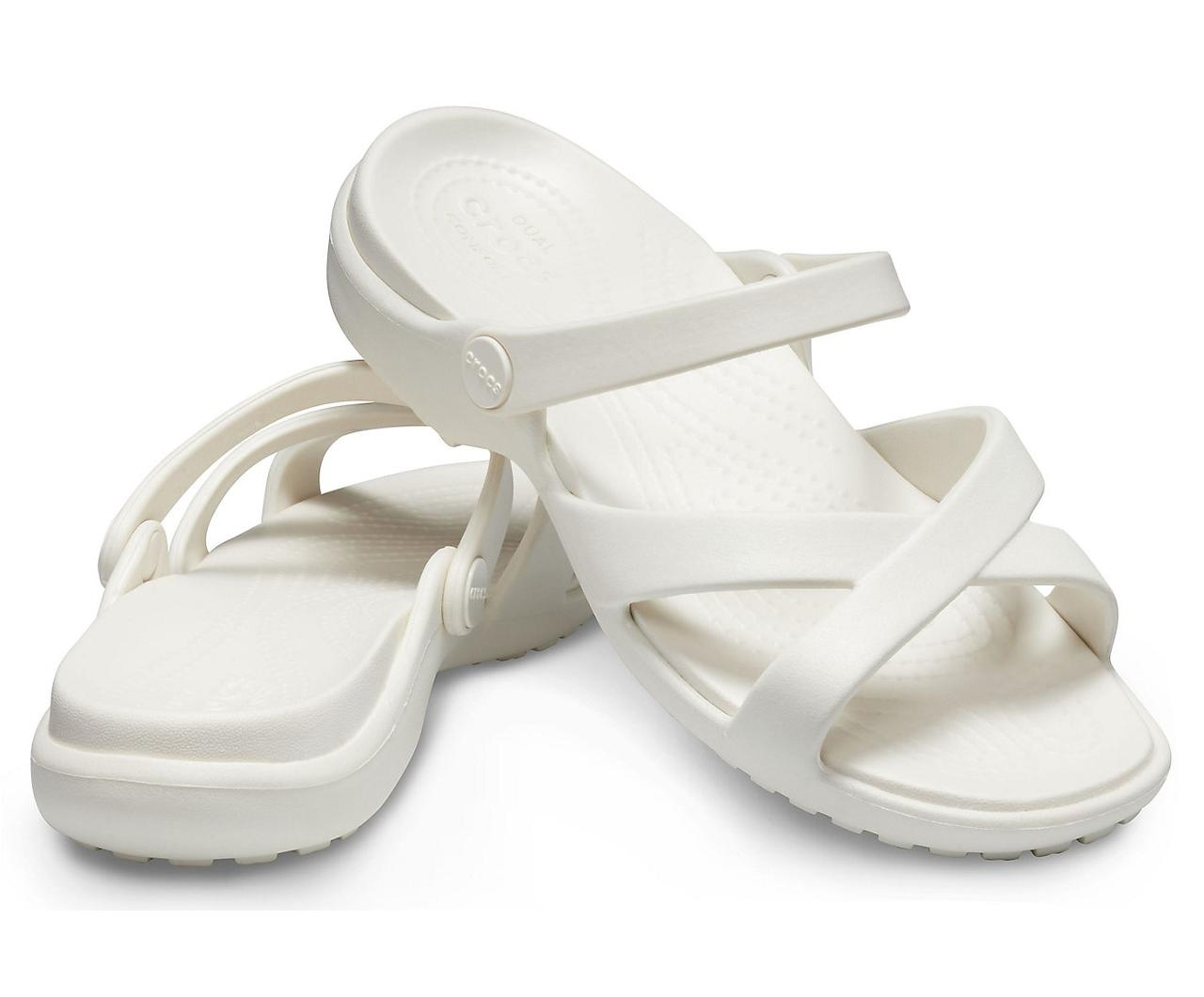 Шлепанцы женские Кроксы Мелин Кроссбенд оригинал / Crocs Women's Meleen Cross-Band Sandal (205472), Молочные