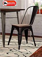 Стул Tolix черный глянцевый металлический с деревянным сиденьем, дизайн Xavier Pauchard в стиле лофт