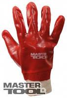 """MasterTool Перчатки кислотостойкие, х/б трикотаж, полное ПВХ покрытие, вязаный манжет (красные),10,5"""",123-127"""