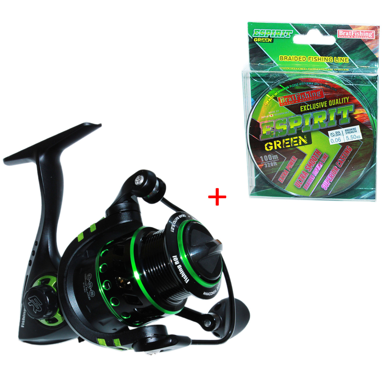 Катушка Fishing ROI Anaconda 2000 FD (5+1) + Шнур Рыболовный BratFishing Espirit Green (8 жил)