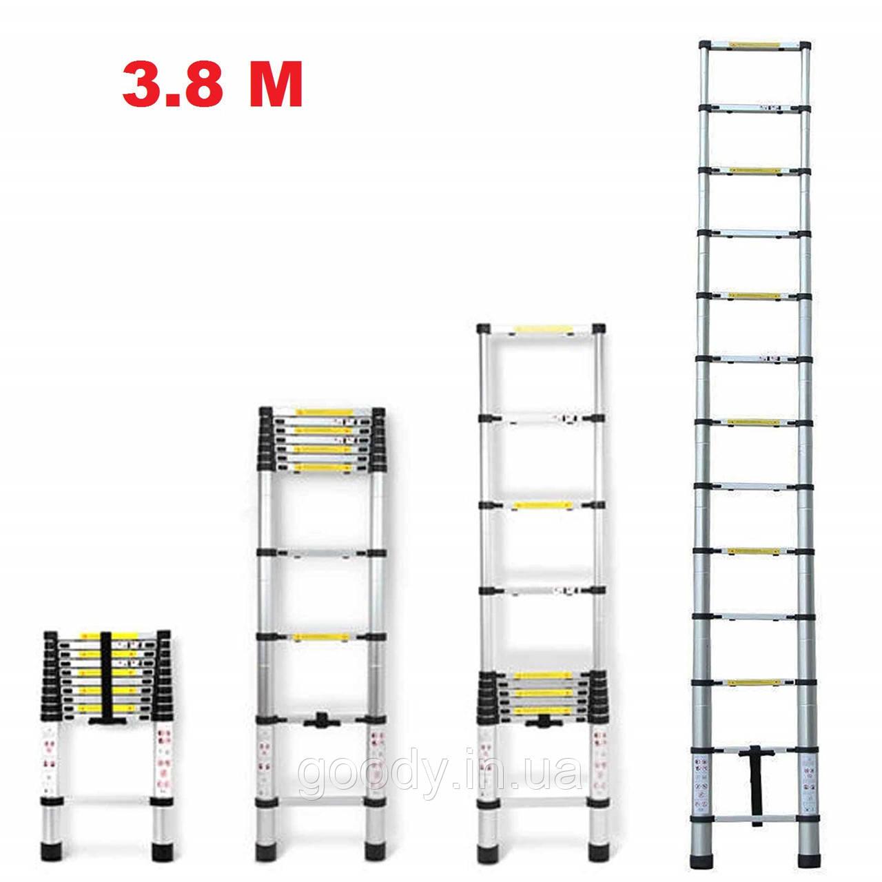 Драбина алюмінієва телескопічна 3,8 метра Ladder EN 131 13 ступенів макс вага 150 кг