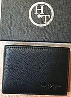 Мужской черный кошелек H&T из натуральной кожи с зажимом для денег