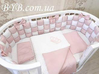 """Комплект постельного белья и бортики бомбон """"Молочно-розовый с бантиками"""""""
