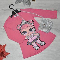 Детское платье из трикотажа, для девочек 5-8 лет (4 ед в уп) Розовый
