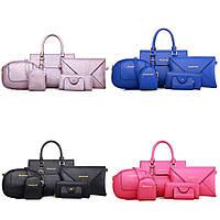 Набор сумок 6 в 1 (2 сумки, клатч, 2 кошелька маленький, визитница) РАЗНЫЕ ЦВЕТА!
