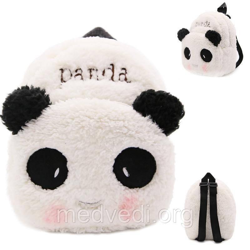Білий дитячий плюшевий рюкзак Панда