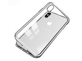 Металлический магнитный чехол для iPhone XR Серебристый
