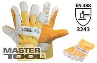 """MasterTool Перчатки комбинированные из замши и ткани, усиленная ладонь, 10,5"""", 220-255 г, желтые, Арт.:"""