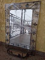 Зеркало в кованой раме большое с полкой