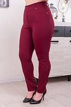 Джеггинсы женские большого размера из джинс-коттона цвет марсала (50-68)
