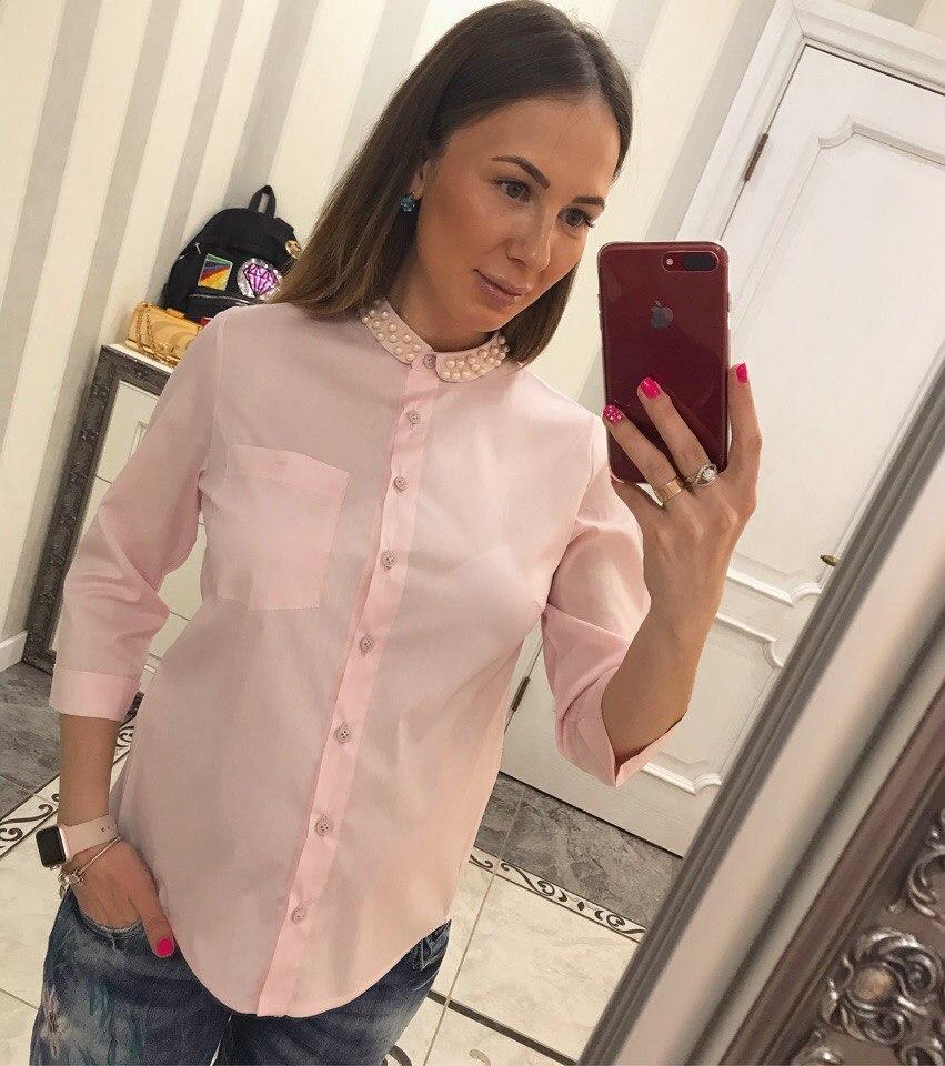 "Рубашка женская из коттона с жемчугом ""Коста"""