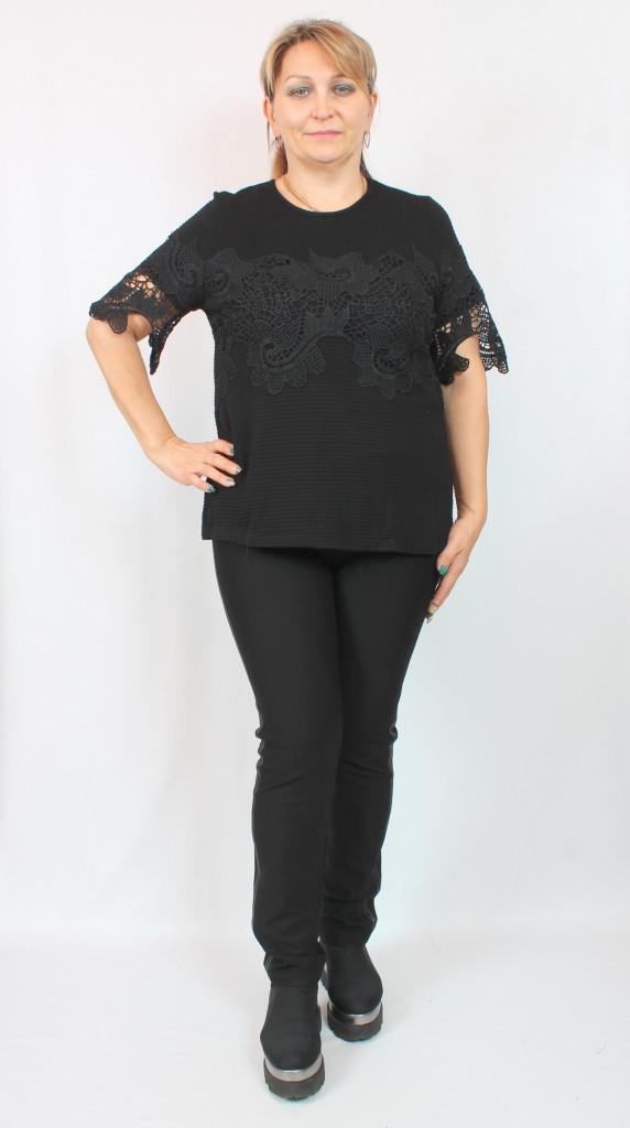 Турецкая женская черная блузка с кружевом, размеры 50 52