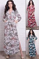 Платье  в цветочный принт  приталенное до 60 размера, фото 1