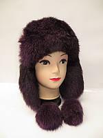 Женская  теплая зимняя шапка ушанка из натурального меха кролика