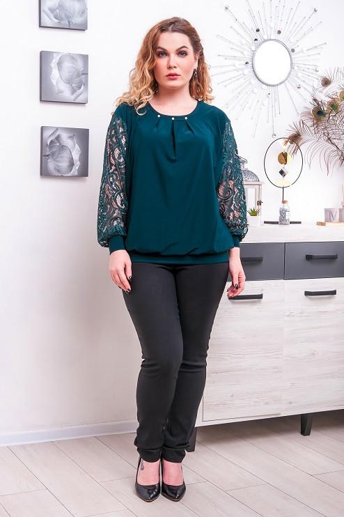 Комплект женский джеггинсы + блуза большого размера Бетта  зеленый+черный (52-66)