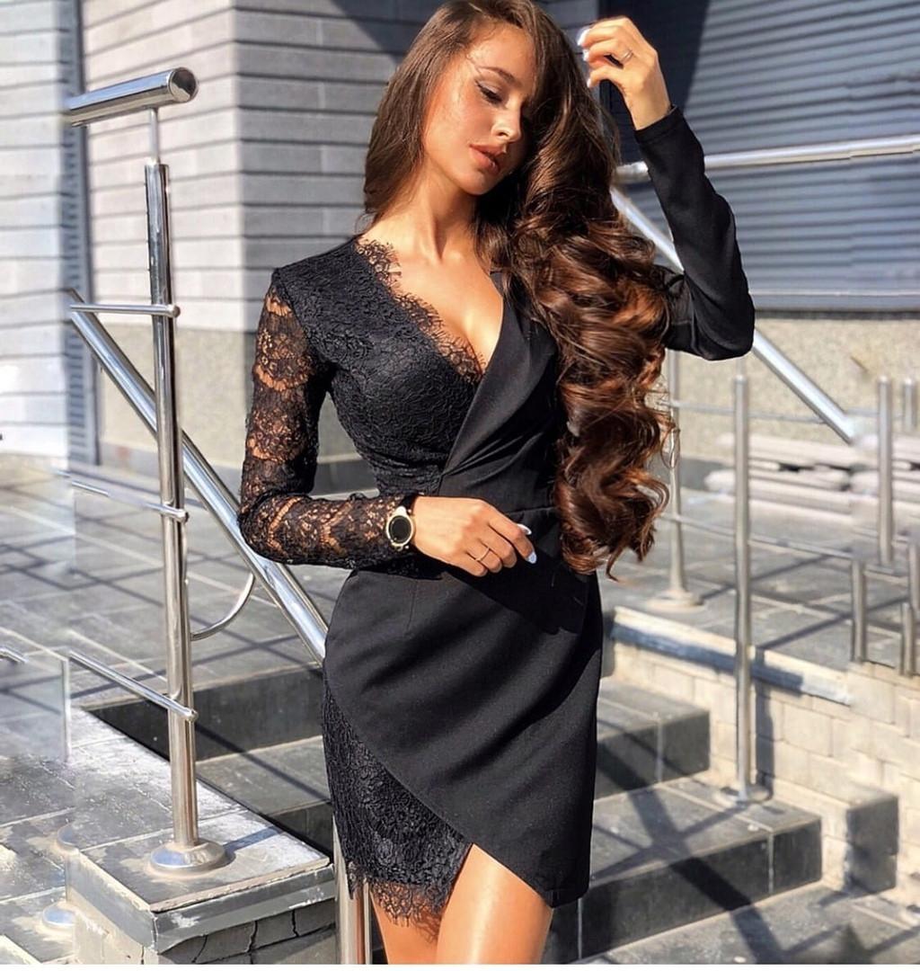 Платье женское, повседневное, нарядное, футлярное, с кружевом, короткое, офисное, модное