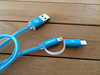 Кабель синхронизации Remax Lightning/microUSB Aurora Cable (blue)