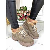 Ботинки замшевые на спортивной подошве с меховой опушкой, фото 1