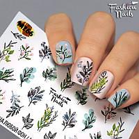 """Слайды для ногтей """"ВЕСНА"""" - водные наклейки для ногтей Fashion nails - Цветы, Веточки, Листочки, Бутончики"""