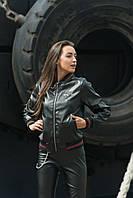 Черная куртка бомберЭКО кожа 42-48