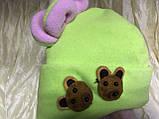 Дитяча салатова шапочка з рожевими вушками від пів року до 2 років, фото 5