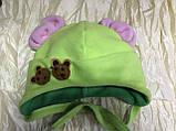Дитяча салатова шапочка з рожевими вушками від пів року до 2 років, фото 3