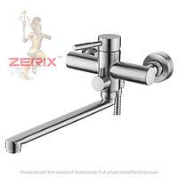 Смеситель для ванны с длинным изливом из нержавеющей cтали ZERIX LR72205
