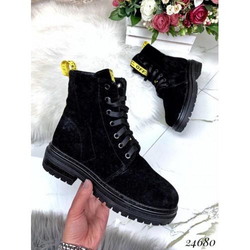 Зимние замшевые ботинки на тракторной подошве