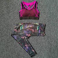 Спортивный костюм женский для фитнеса. Комплект лосины и топ для йоги, тренировок, размер M (черный с розовым)