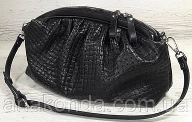 621 Натуральная кожа, Объемная сумка клатч pouch. На плечо сумка женская черная - кожаная сумка пельмень